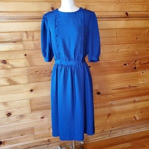 1980s Clement Laird Blue Polyester Dress